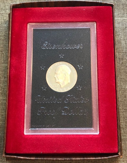 1974-S United States Proof Eisenhower Dollar San Francisco Mint Box Included
