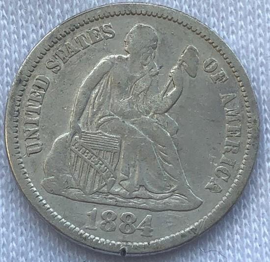 1884 Seated Liberty Dime -- XF