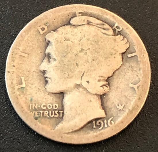 1916 Mercury Dime -- First Year of the Mercury Dimes