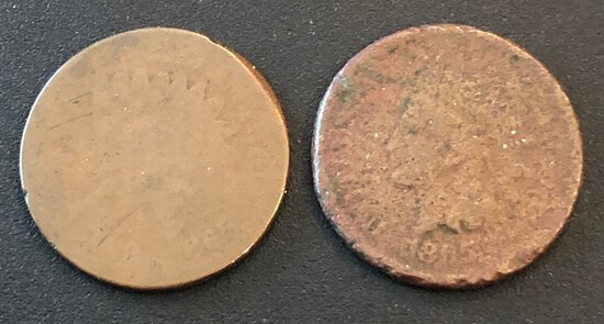 Two 1865 United States Indian Head Cents