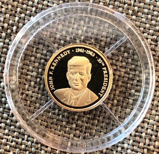 John F. Kennedy -- 1/2 Gram of .585 Gold