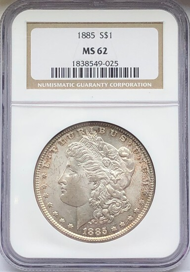 1885 MORGAN SILVER DOLLAR - NGC MS62