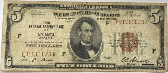 "SERIES OF 1929 ""FEDERAL RESERVE BANK OF ATLANTA GEORGIA"" $5 NATIONAL CURRENCY NOTE"
