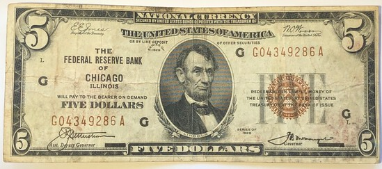 "SERIES OF 1929 ""FEDERAL RESERVE BANK OF CHICAGO ILLINOIS"" $5 NATIONAL CURRENCY NOTE"