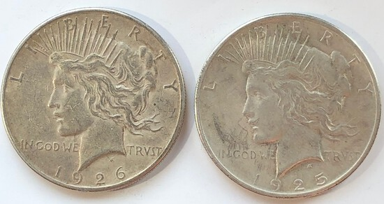 1925 AND 1926-S SILVER PEACE DOLLARS