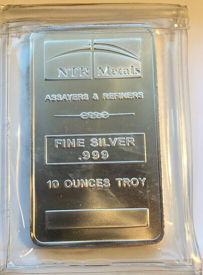 NTR METALS 10 TROY OUNCES .999 FINE SILVER - SILVER BAR