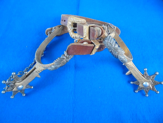 VINTAGE SET OF CHILDS FANCY SPURS WITH LEATHER-VERY NICE