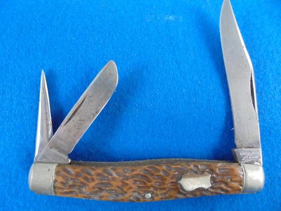 """OLD """"HAMMERED BRAND"""" 3 BLADE POCKET KNIFE-GOOD EDGES"""