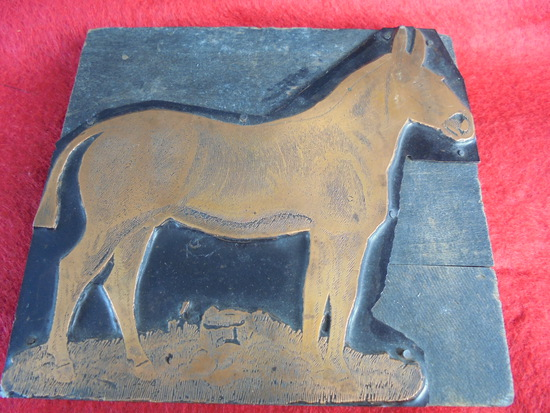 """OLD & LARGE PRINTING BLOCK FEATURING A """"MULE""""-- 6 INCHES WIDE"""