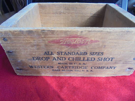 """OLD WOOD BOX WITH """"WESTERN AIR RIFLE SHOT"""" ADVERTISING-NICE ORIGINAL"""