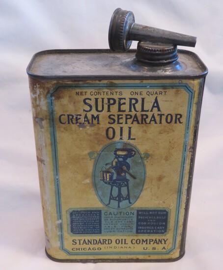 SUPERLA CREAM SEPARATOR OIL - STANDARD OIL CO 1 QUART ADVERTISING TIN
