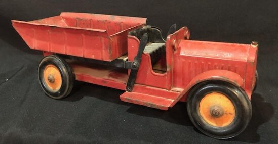 EARLY VINTAGE PRESSED STEAL RED DUMP TRUCK