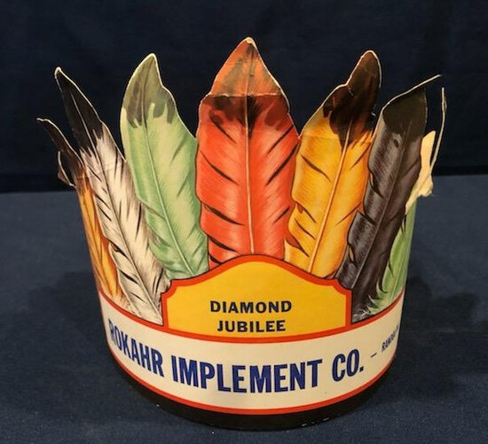 """ROKAR IMPLEMENT CO. """"DIAMOND JUBILEE"""" INDIAN CHIEF FEATHER PAPER HAT"""
