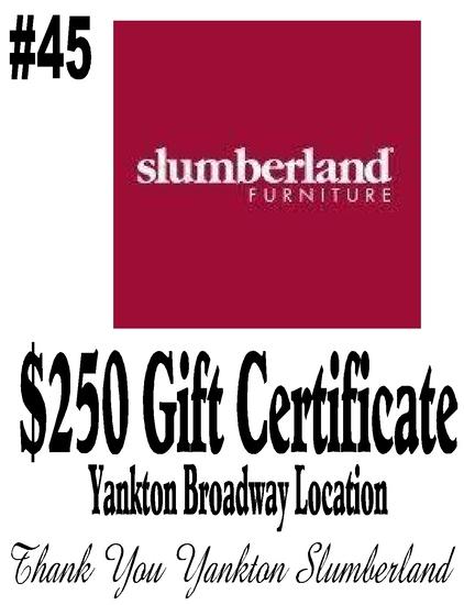 Slumberland Furniture $250 Gift Certificate