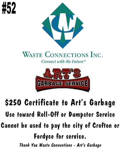 $250 Certificate for Art's Garbage