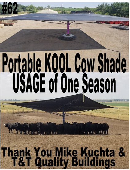 Portable KOOL Cattle Shade 32' x 32': USAGE Of One Season