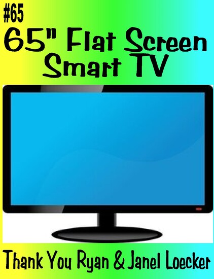 "Large 65"" Flat Screen Smart TV"