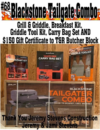 Blackstone Tailgater Combo – Grill and Griddle Plus $150 Gift Certificate for Meat