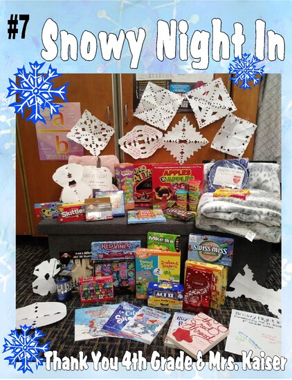 """Cozy Snowy Night"" - Blankets, Chocolate, Snacks, and More!"