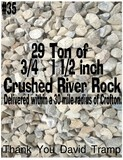 29 Ton of ¾-1 ½ Inch Crushed River Rock Delivered within a 30 Mile Radius of Crofton
