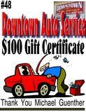 Downtown Auto $100 Gift Certificate