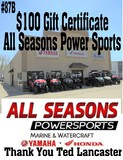 All Season Power Sports - $100 Gift Certificate
