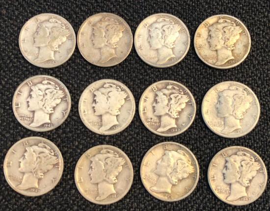 Set of (12) Mercury Silver Dimes