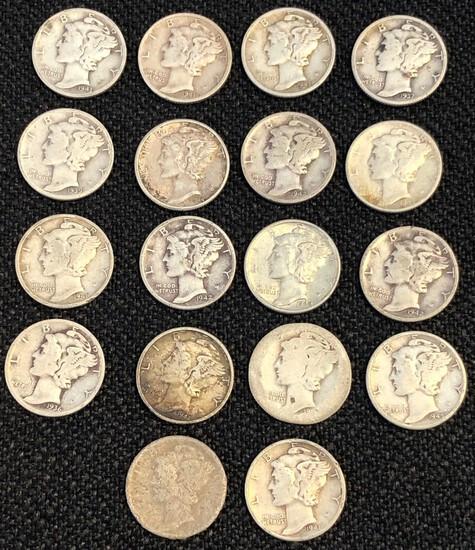 Set of (18) Silver Mercury Dimes