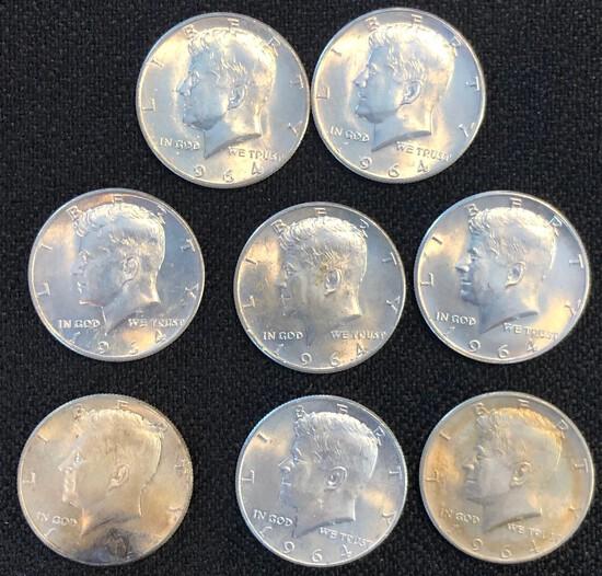 Set of (8) 1964 Kennedy Silver Half Dollars
