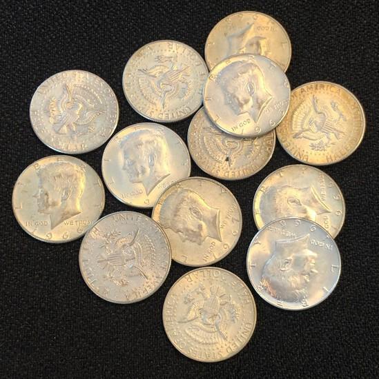 Set of (13) 40% Silver Kennedy Half Dollars