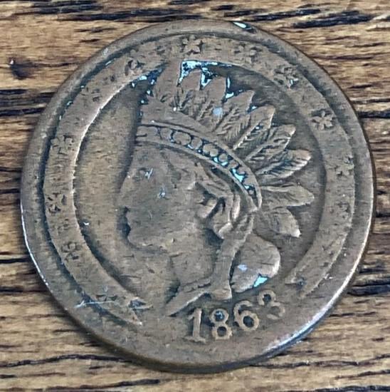 1863 Not One Cent - Civil War Token