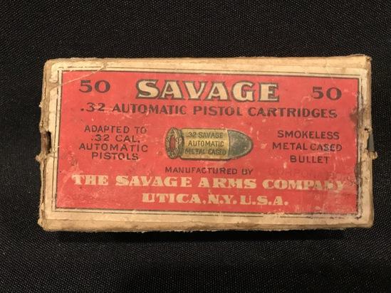 Full box of .32 Savage Automatic--Two Piece Box