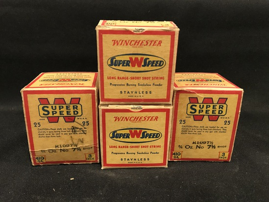 "(4) Boxes of Winchester Super W Speed 3"" .410 Paper Shotgun Shells"