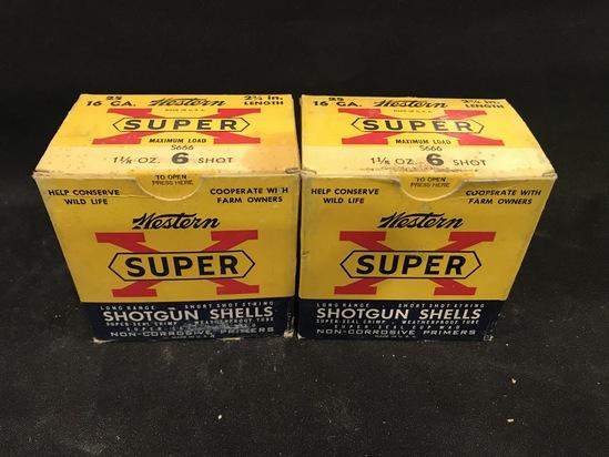 (2) Full Boxes of Western Super X 16ga--Paper Shotgun Shells