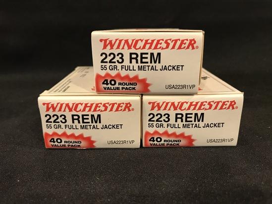 (3) Winchester 223 Rem 55gr FMJ 40rd Value Packs