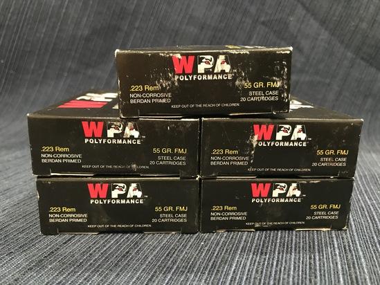 (5) WPA Polyformance .223 Rem 55gr FMJ Steel Cased