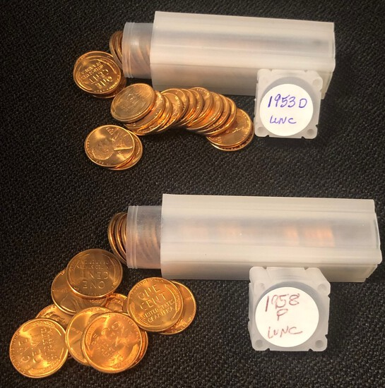 1953-D & 1958 Uncirculated Wheat Cent Rolls