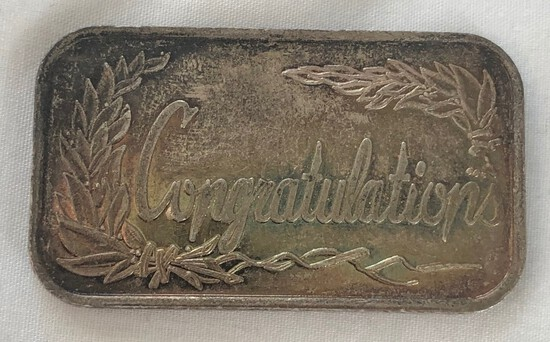 "1996 ""Congratulations"" 1 Ounce .999 Fine Silver Bar"