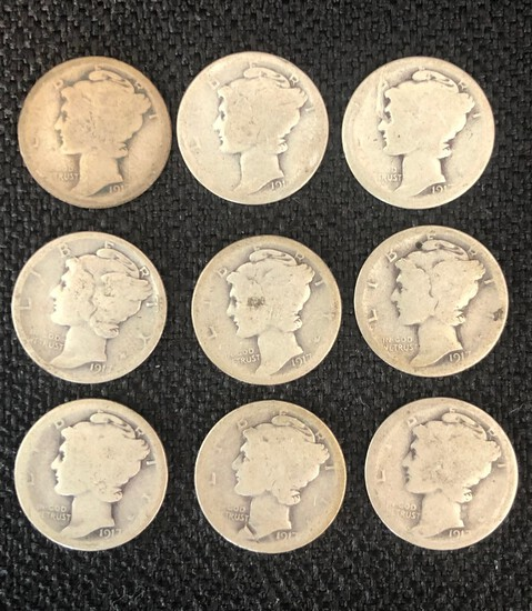 (9) 1917 Mercury Silver Dimes - Second Year of Mercury Dimes