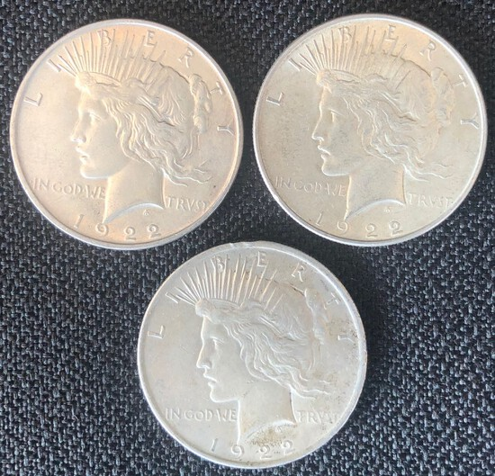 (3) 1922 US Peace Silver Dollars