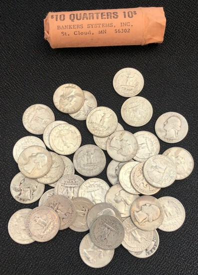 Roll of (40) Washington Silver Quarters