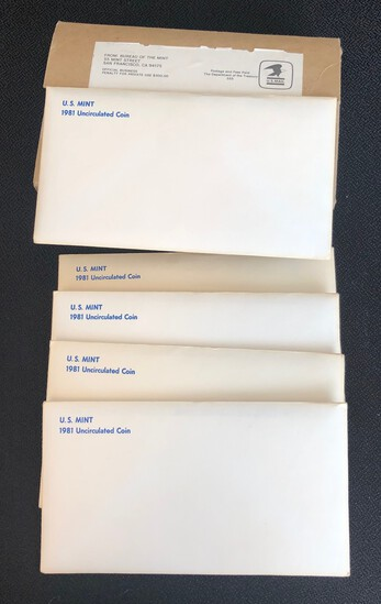 (5) 1981 US Mint Sets in Original Shipping Box