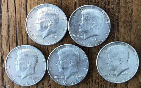 Set of (5) 1964 & 1964-D Kennedy Half Dollars
