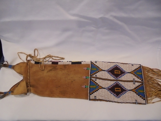 BEADED PIPE BAG WITH FRINGE--24 INCHES OVERALL WITH FRINGE