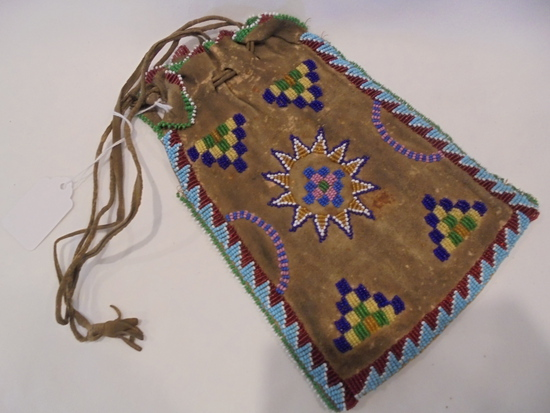 MED. SIZED BAG WITH BEADS ON BOTH SIDES-8 1/2 X 5 1/2 INCHES