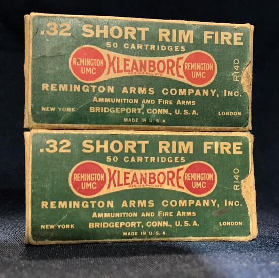 (2) REMINGTON UMC KLEANBORE .32 SHORT RIMFIRE