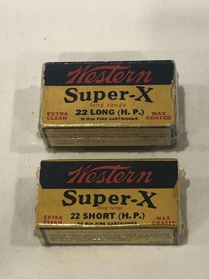 LOT OF (2) WESTERN SUPER X .22 SHORT & .22 LONG