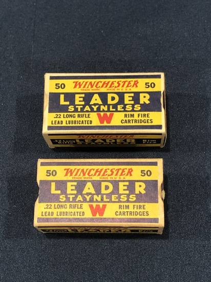 (2) VINTAGE WINCHESTER LEADER STAYNLESS .22 LONG RIFLE CARTRIDGES