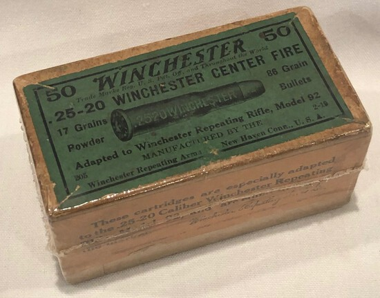 WINCHESTER .25-20 WINCHESTER CENTER FIRE  -- FULL BOX OF 50 RDS - SEALED