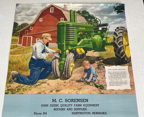 VINTAGE M.C. SORENSEN - JOHN DEERE FARM EQUIPMENT - HARTINGTON, NEBRASKA - CALENDAR TOP